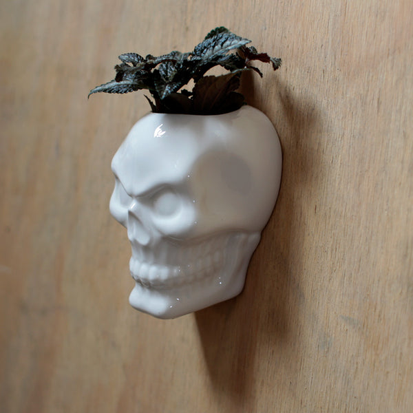 White Ceramic Skull Wall Planter