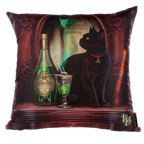 Lisa Parker Absinthe Black Cat Cushion
