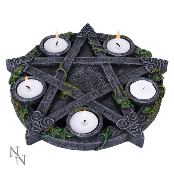 Wiccan Pentagram Tea-Light Candle Holder