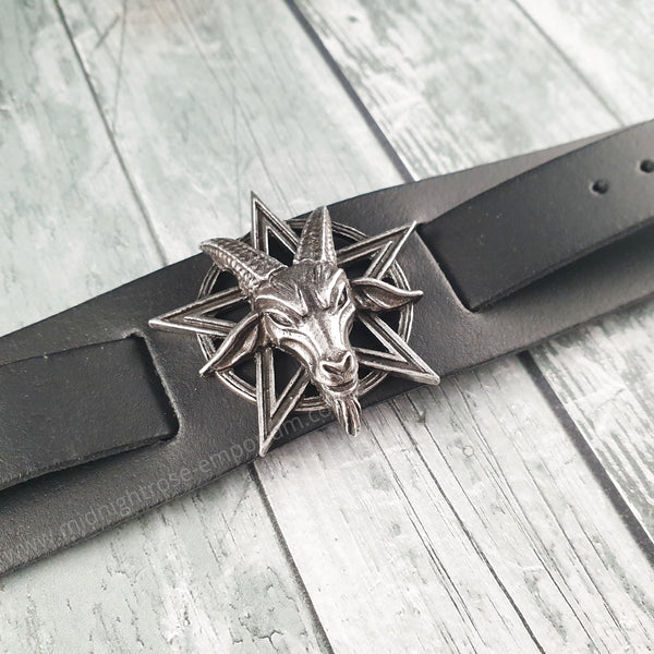 Baphomet Leather Wristwrap