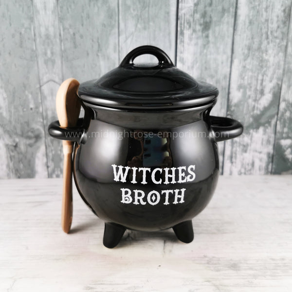 Witches Broth Soup Bowl with Broom Spoon - Black Magic Collection