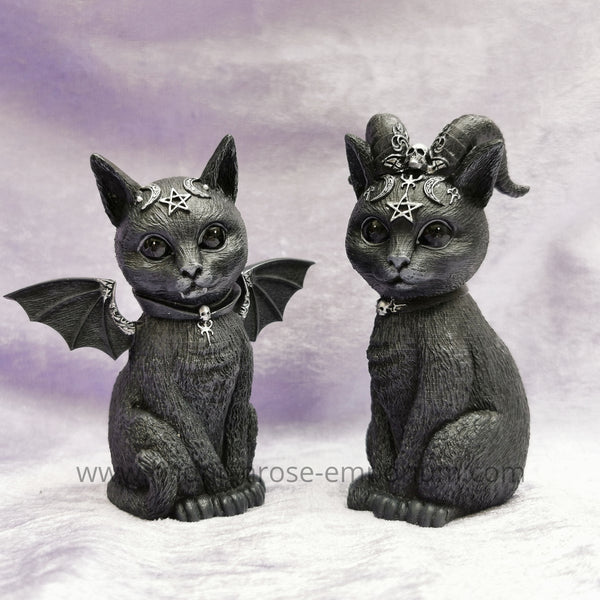 'Malpuss' & 'Pawzuph' Set of 2 Black Cat Ornaments