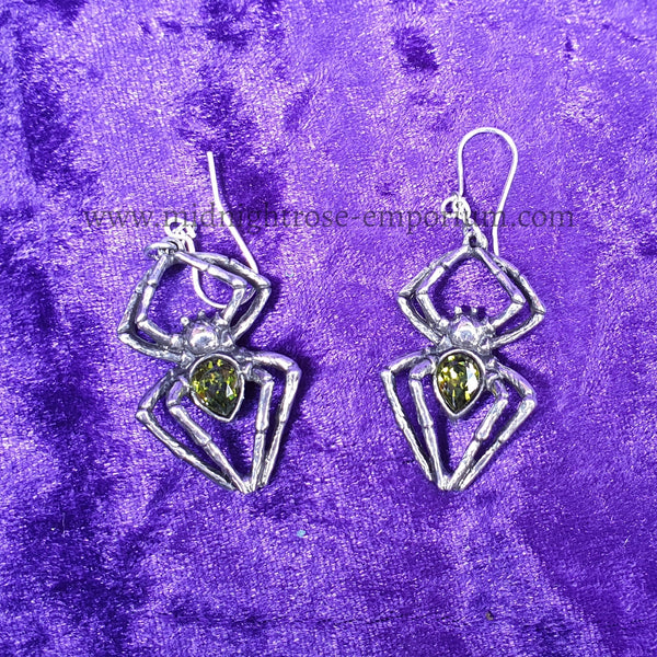 Emerald Venom Spider Dropper Earrings