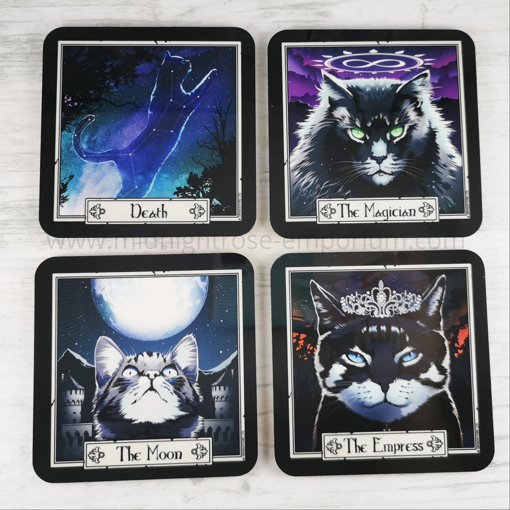 Felis - The Magician, The Moon, Death & The Empress Tarot Cats Coaster Set