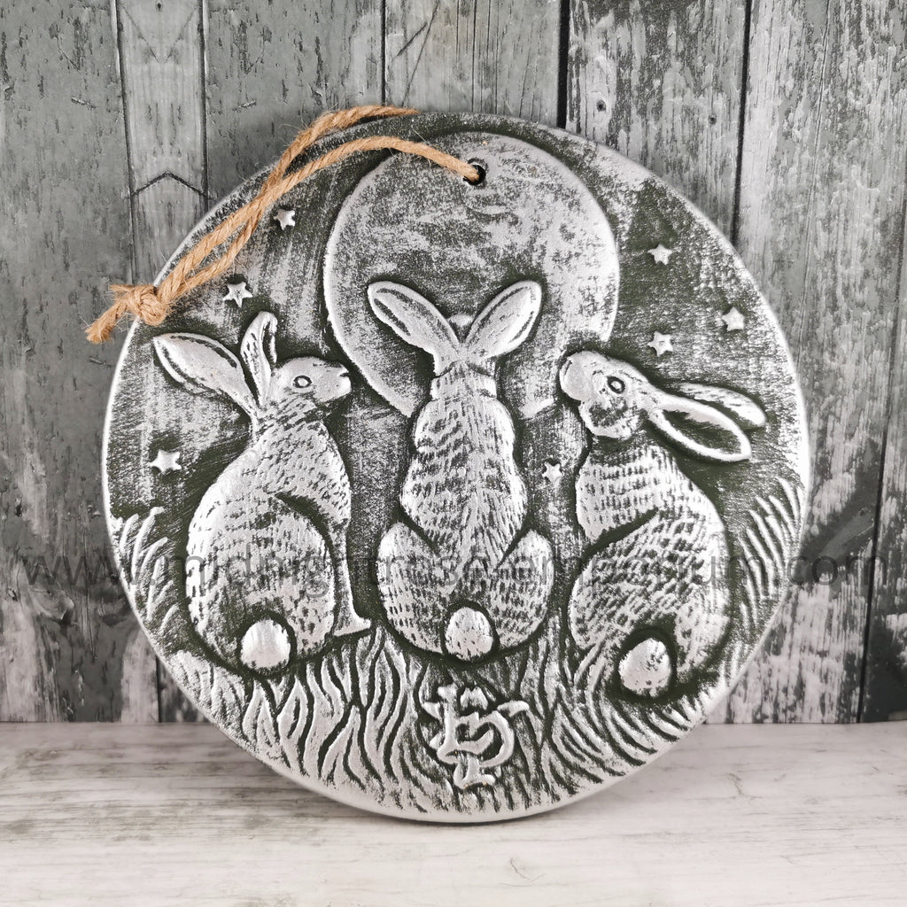 Lisa Parker 'Moon Shadows' Terracotta Hare Plaque - Silver