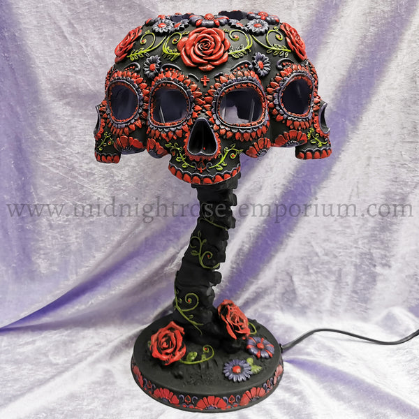 Night Blooms Skull Lamp 38cm