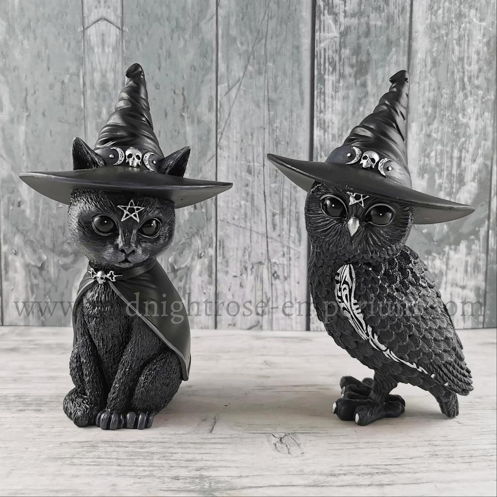 'Purrah' & 'Owlocen' Set of 2 Witch Cat & Owl Ornaments