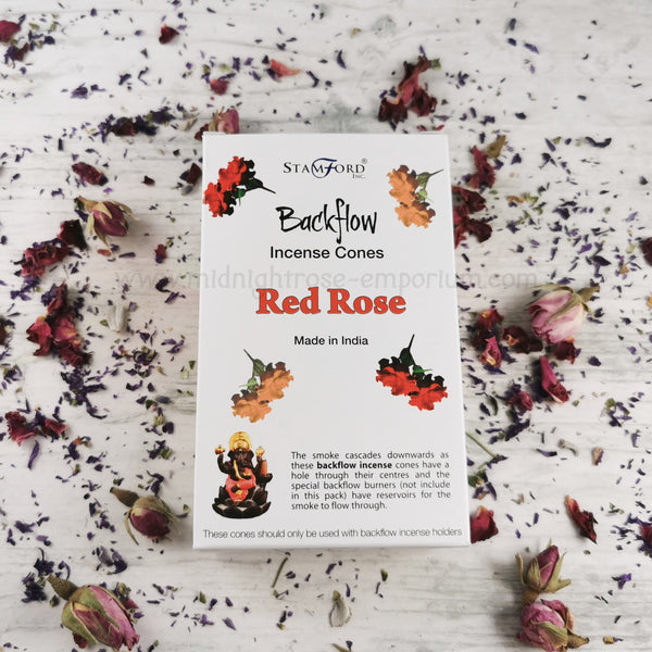 Red Rose Backflow Incense Cones - Box of 12