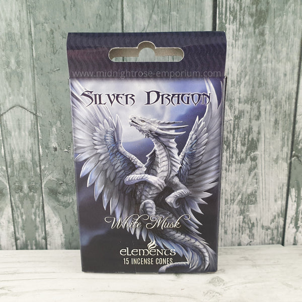 Anne Stokes 'Silver Dragon' Incense Cones - White Musk