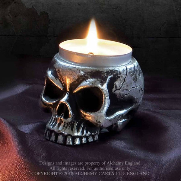 Alchemy Gothic Skull Tea Light Candle Holder