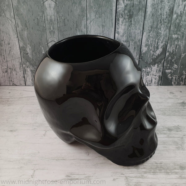 Black Skull Ceramic Planter