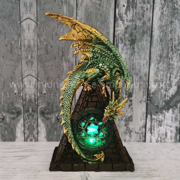 Stained Glass Window LED Dragon - Green