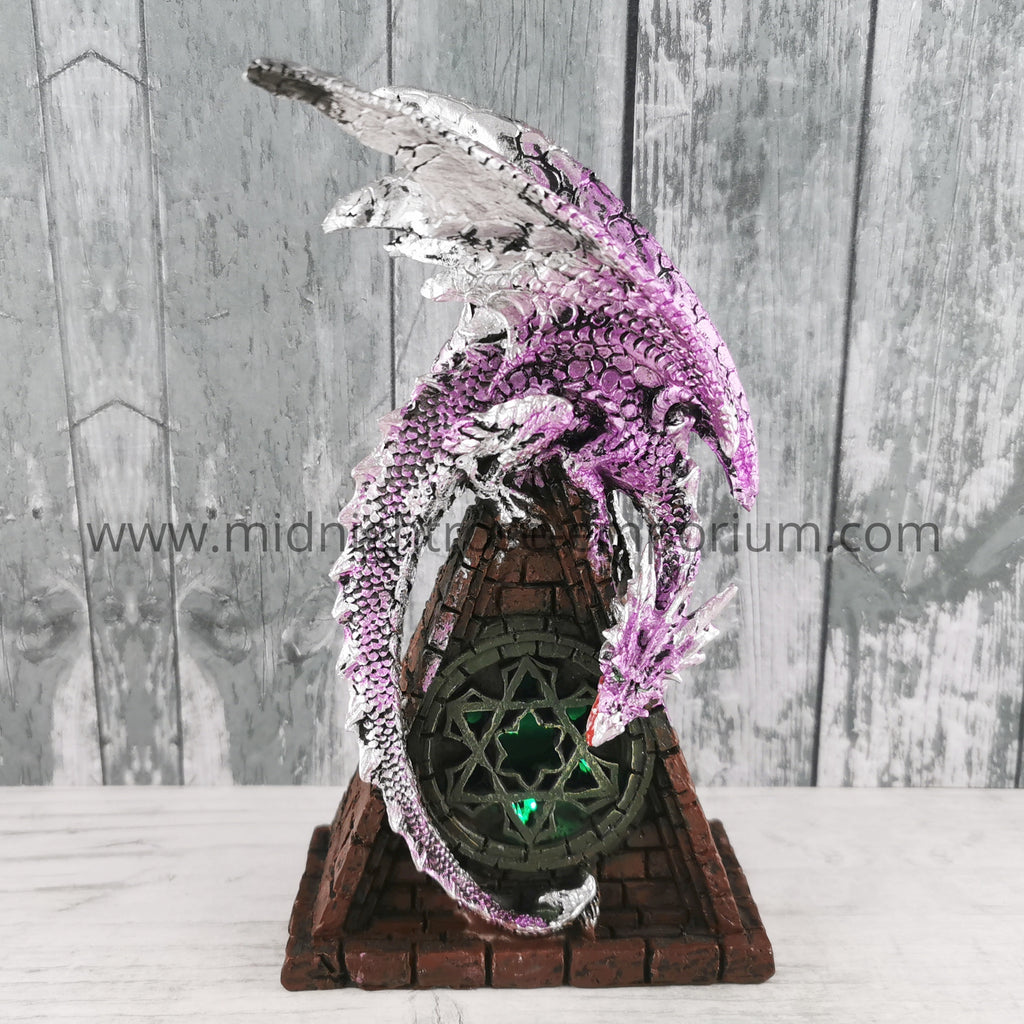 Stained Glass Window LED Dragon - Purple