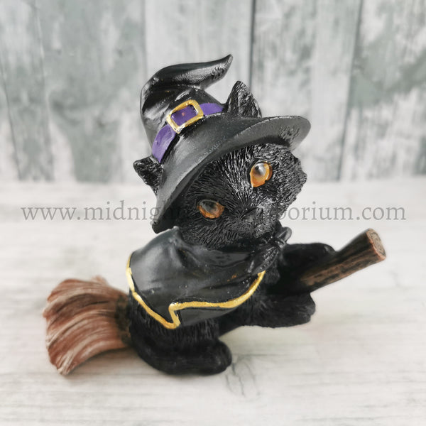 'Tabitha' Black Kitten Witch Figurine 11cm