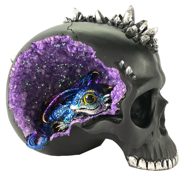 PRE ORDER Crystal Cave Purple Geode Skull & Dragon Ornament
