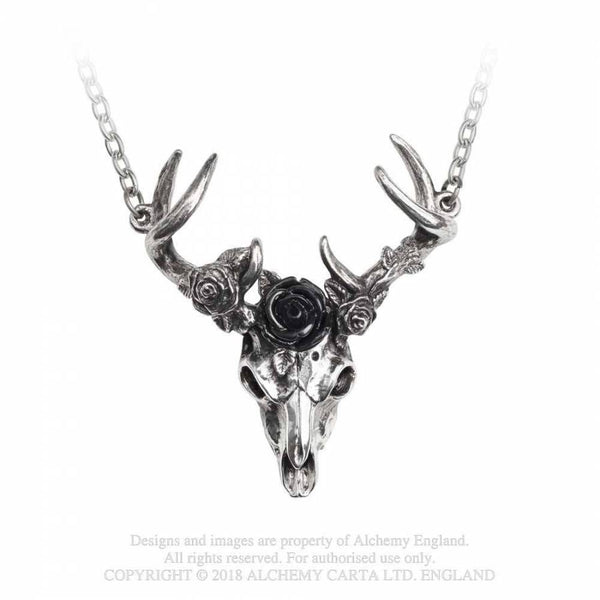 White Hart, Black Rose Stag Skull Necklace