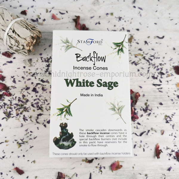 White Sage Backflow Incense Cones - Box of 12