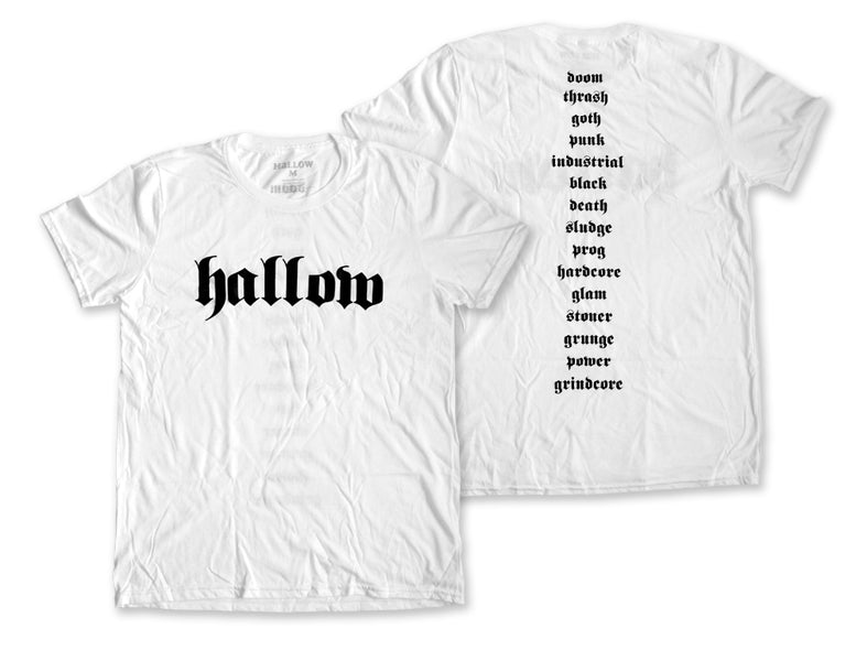 Hallow Collective - Genres Tee White Front and Back