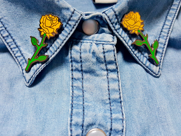 Hallow Collective - Yellow Rose Enamel Pins