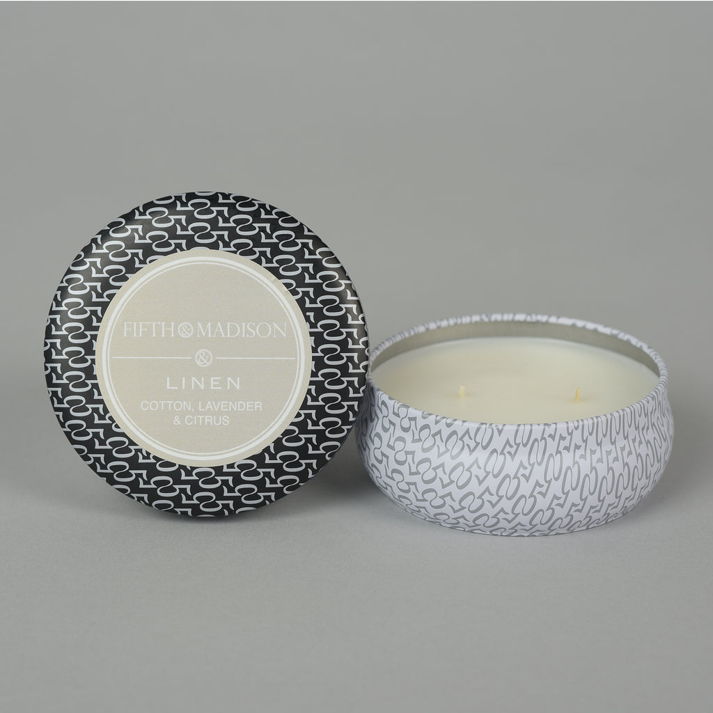 LINEN TWO WICK TIN
