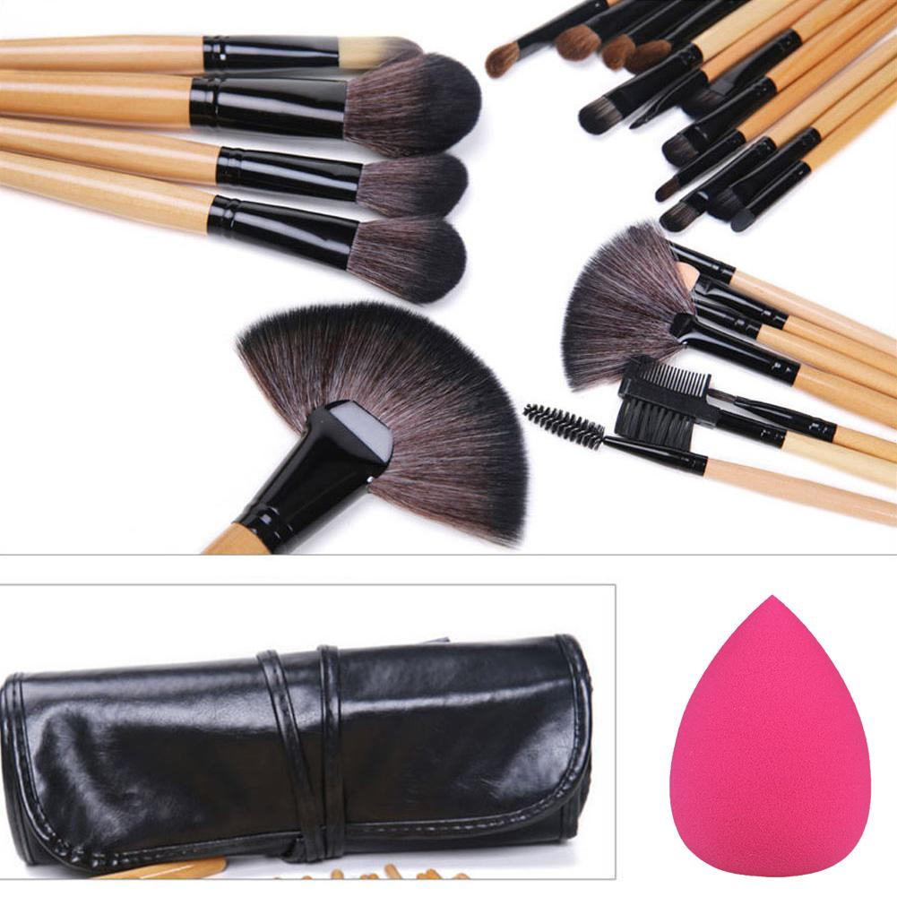 24Pcs Professional Make up Brushes + Cosmetic Sponge Puff for FREE
