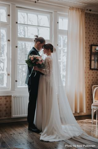 bohemian wedding dress, lace and chiffon simple wedding dress made in Finland
