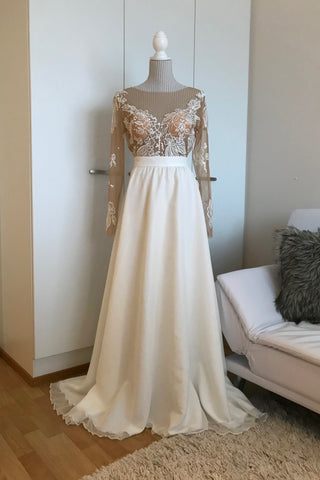 long sleeve lace wedding dress 2018