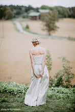 Load image into Gallery viewer, bohemian lace bridal crop top, lace bridal top with spaghetti straps