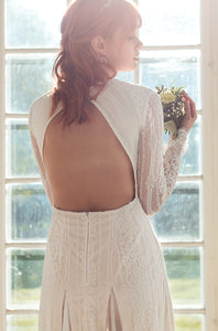 open back, long sleeves lace wedding dress, beach wedding dress, indie wedding dress shop online