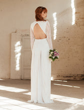 Lataa kuva Galleria-katseluun, open back, long sleeves lace wedding dress, bohemian wedding dress, backless boho wedding dress, lace wedding dress