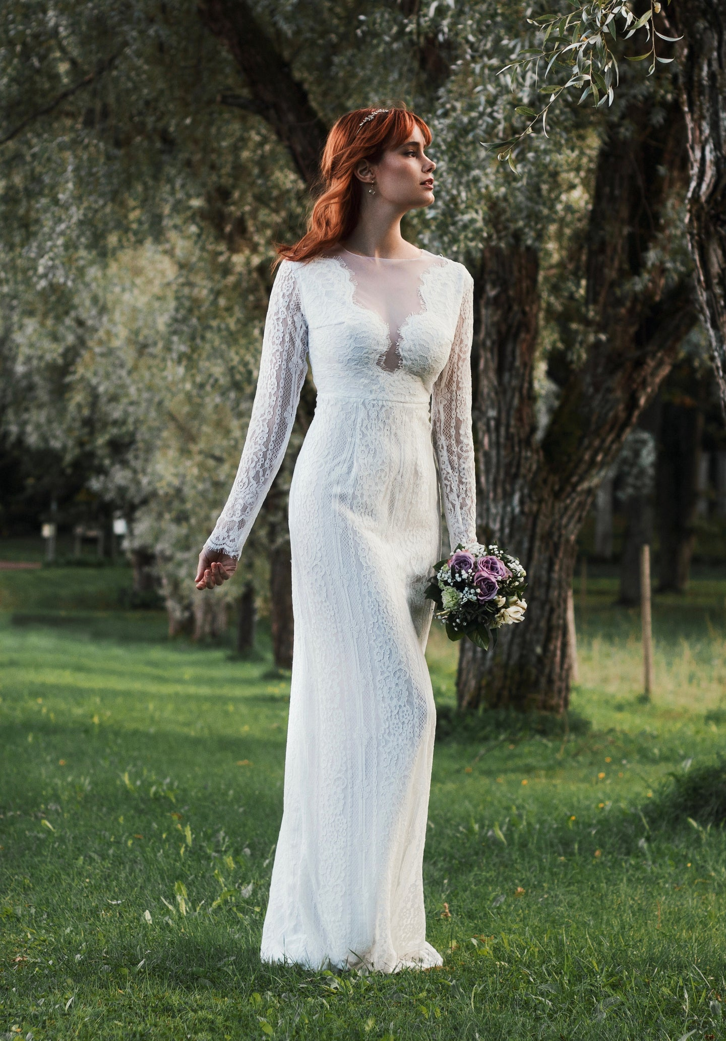 long sleeves, open back, lace wedding dress with pearls buttons