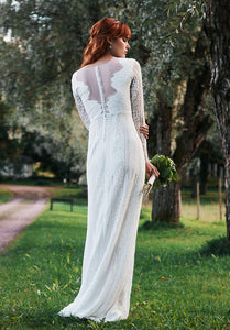 open back, illusion open back, long sleeves, lace wedding dress. lace wedding dress with long sleeves