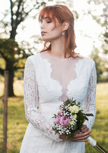 Lataa kuva Galleria-katseluun, v neckline, plunging neckline, long sleeves, lace wedding dress