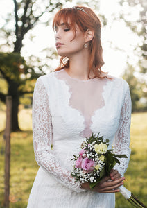 v neckline, plunging neckline, long sleeves, lace wedding dress