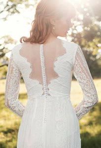 open back, long sleeves, ivory, bohemian, boho wedding dress