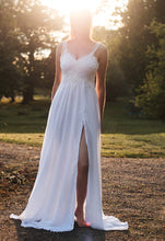 Lataa kuva Galleria-katseluun, lace wedding dress with side slit. bohemian wedding dress with side slit
