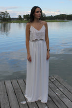 Load image into Gallery viewer, two piece crop top and skirt lace and chiffon wedding dress