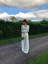 Load image into Gallery viewer, plunging neckline ivory lace wedding dress. bohemian wedding dress