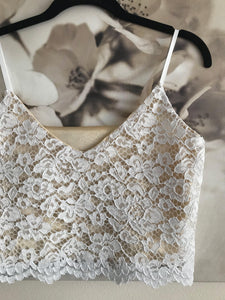 bohemian lace bridal crop top, lace bridal top with spaghetti straps