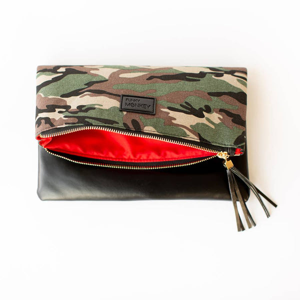 Fold Over Clutch- Camo & Black with Red Lining