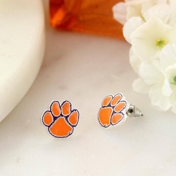 Orange Tiger Paw Enamel Logo Stud Earrings