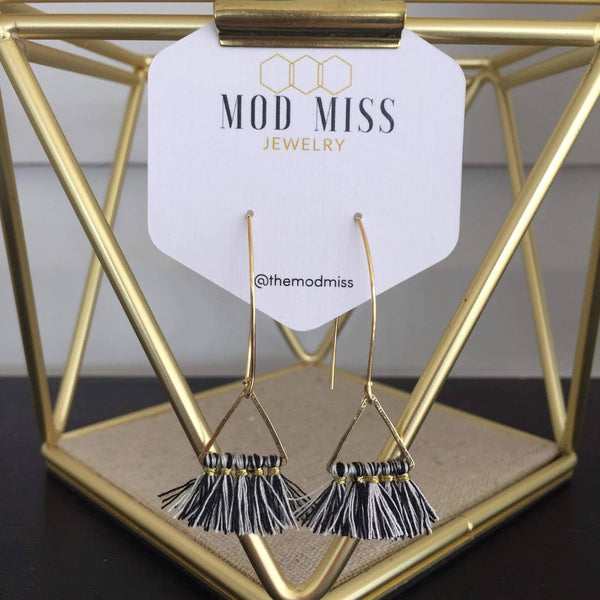 Black & White Tassel Gold Earrings
