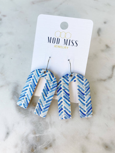 Blue Chevron Leather Cork Arch Earrings