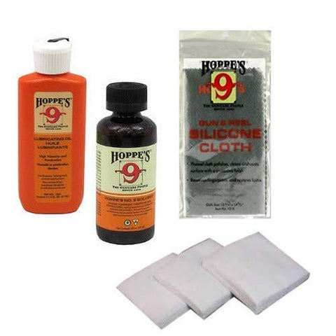 Hoppes, Westlake Market Gun Bore Cleaner and Lubricating Oil with 40-50 Patches for .38, 9mm.40.44 and .45 Caliber Handguns/Pistols Plus Silicone Non-Abrasive Gun Cloth