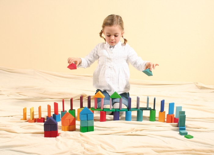 Building Set Shapes and Colours Part 1 - 70 Piece by Grimm's Organic Cotton Toddler Kids Clothes from Modern Rascals