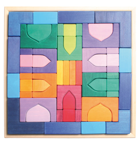 1001 Nights Building Set 4x4cm - colourful wooden block set  in a wooden frame for kids to build with