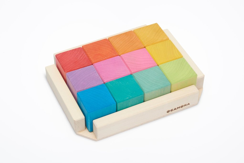 12 cube block set in rainbow red to blue in wooden frame