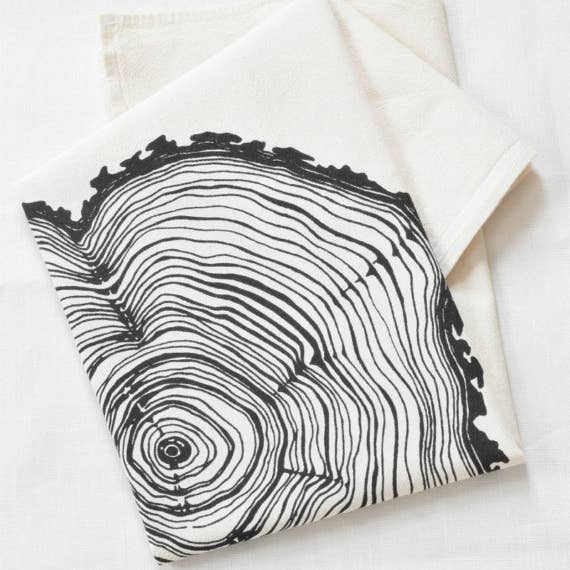 Tree Ring Tea Towel - Black