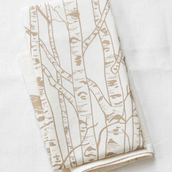 Birch Tree Tea Towel - Brown