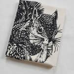 Squirrel Tree Tea Towel - Black
